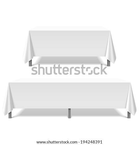 Big tables covered with white tablecloth. Vector. - stock vector