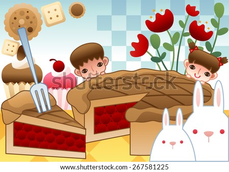 Big Tasty Fruit Pie and Cookies - lovely girl and funny boy eat delicious sugar dessert and snack with red tulip and cute baby rabbit on bright blue background with chess pattern : vector illustration - stock vector