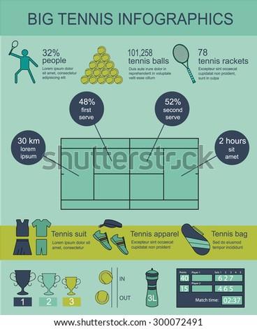 Big tennis infographics. Vector illustration eps10. - stock vector