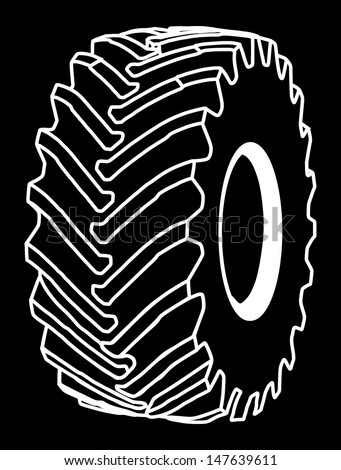 big tire isolated on black background - stock vector