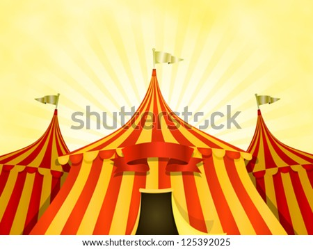 Big Top Circus Background With Banner/ Illustration of cartoon yellow and red big top circus tents background with marquee or banner on a summer sky background