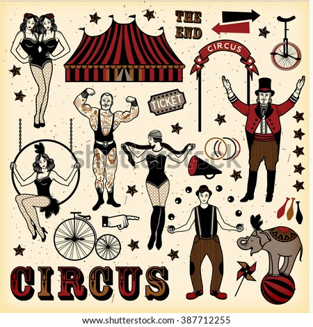 Big Top Circus stars set - stock vector