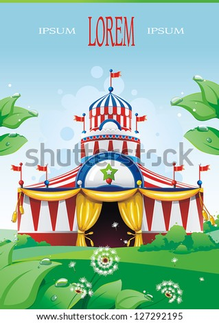 Big top circus tent built in a park. The sky is blue with white cumulus clouds. Decoration vector illustration. - stock vector