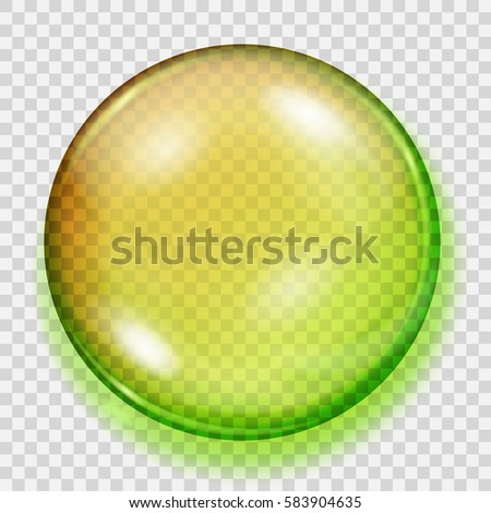 Big transparent yellow and green sphere with shadow on transparent background. Transparency only in vector file