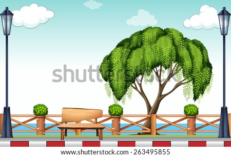 Big tree at the park with a wooden chair - stock vector