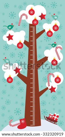 Big tree with white snow on the branches, birds, red christmas decorations. Candy, balls, stars, sock, sleigh with gifts on sky-blue background Children height meter wall sticker, kids measure. Vector - stock vector