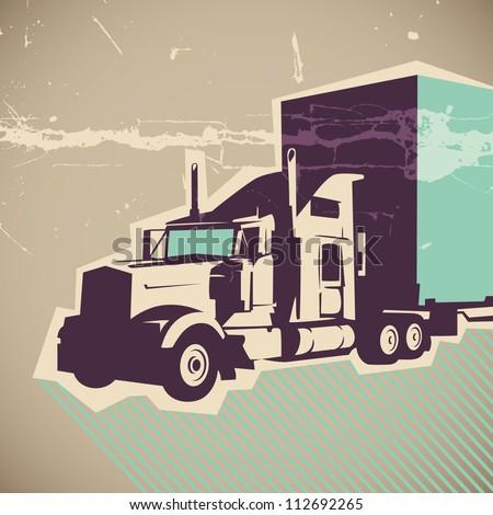 Big truck illustration. Vector illustration. - stock vector
