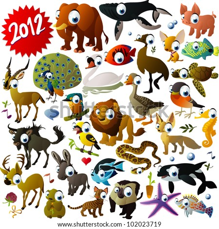 big vector animal set - stock vector