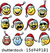 Big vector collection of smiliey faces in Santa's hat. Easy-edit layered vector EPS10 file scalable to any size without quality loss. High resolution raster JPG file is included.  - stock vector