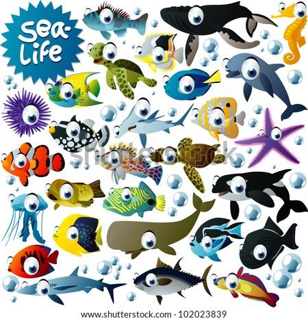 big vector sea-life animals set - stock vector