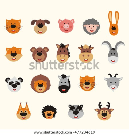 Big vector set animal faces. Collection of isolated animals faces in cartoon style. Smiling animals: forest, asia, africa, farm, domestic