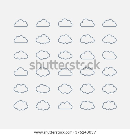 Big vector set blue cloud shapes, cloud icons for web and app, for cloud computing and so on over white.Icons for cloud computing web and app. Simple line - stock vector