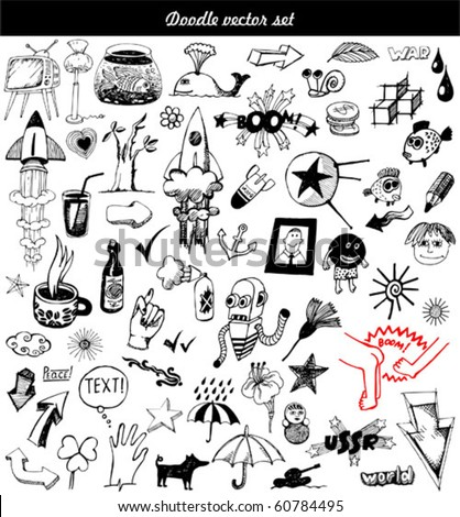 big vector set - doodle - stock vector
