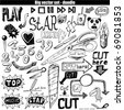 big vector set - doodle - cut - stock vector
