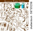 big vector set : doodle - kitchen - stock vector