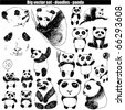 big vector set - doodle - panda - stock vector