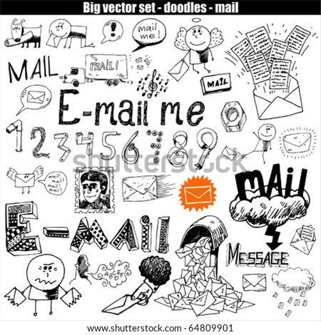 big vector set : mail - stock vector