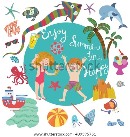 Big vector set of beach in cartoon style. Children play with a ball, toys, marine life, waves, inscriptions. Summer time, season, sea, beach. All that is necessary for children to be happy. - stock vector