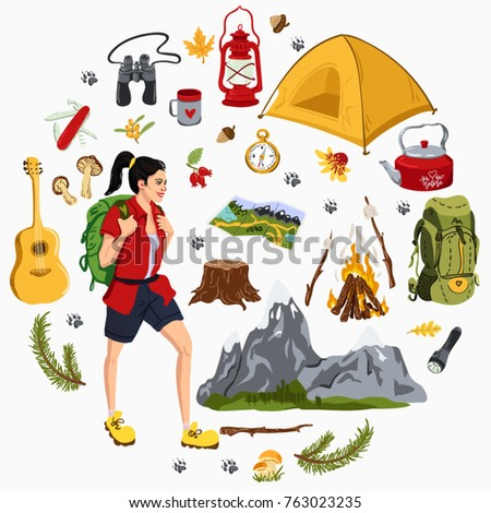 Big Vector Set Of Camping Equipment And Woman With Backpack In Cartoon Style
