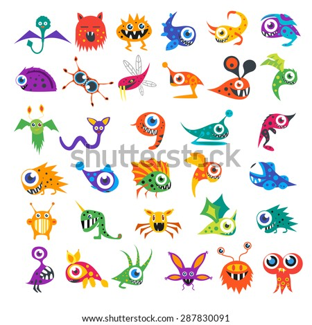Big vector set of cartoon cute monsters and aliens. Custom shapes, bodies, faces, smiles, teeth and eyes. EPS 8 vector cute halloween monsters for your design and business. - stock vector