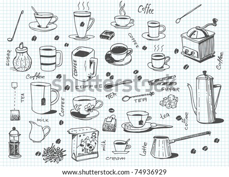 big vector set of coffee and tea - stock vector
