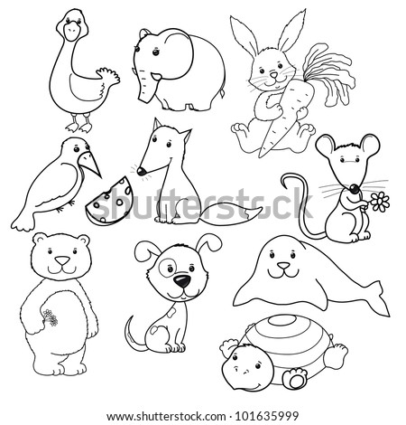 Big vector set of cute animals's contours, coloring book - stock vector