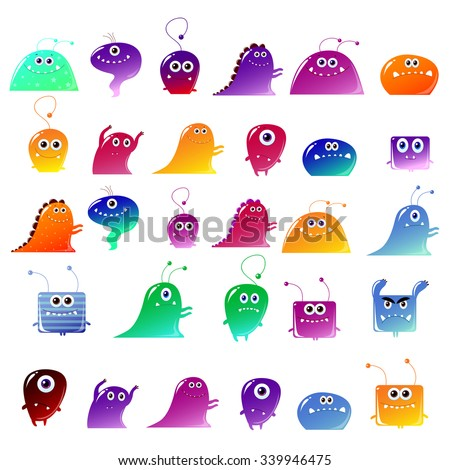 Big vector set of cute  monsters, isolated on white. Kids characters for Halloween, game characters,design of cards - stock vector