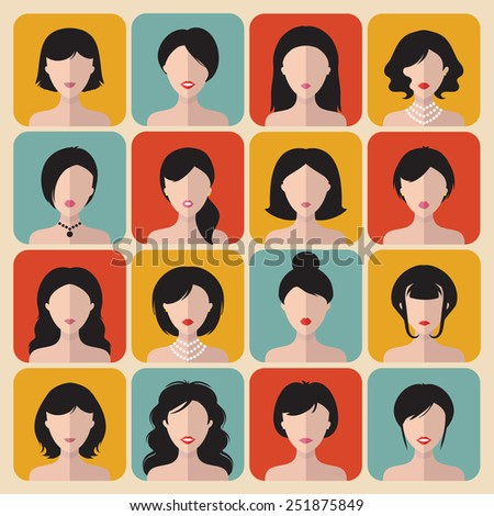 Big vector set of different haircuts women app icons in flat style - stock vector
