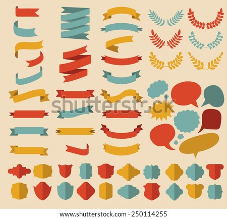Big vector set of different shapes ribbons, laurels, labels and speech bubbles in flat style - stock vector