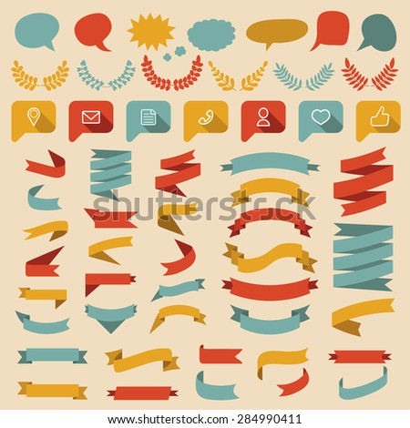 Big vector set of different shapes ribbons, laurels, social media icons and speech bubbles in flat style