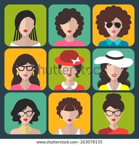 Big vector set of different women app icons in flat style - stock vector