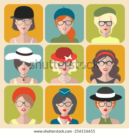 Big vector set of different women app icons in glasses and hats in flat style - stock vector