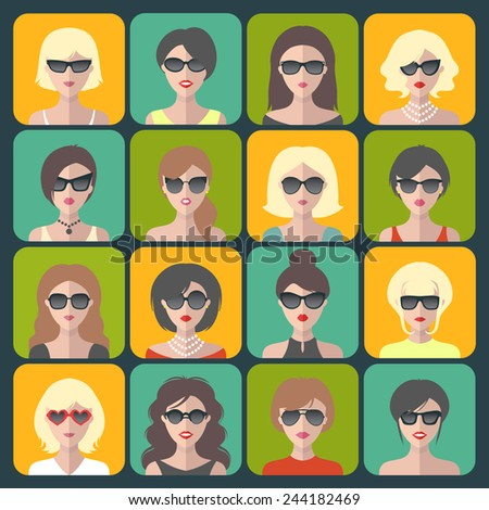 Big vector set of different women app icons in glasses in flat style - stock vector