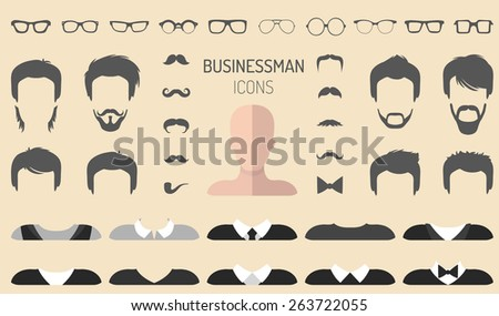 Big vector set of dress up constructor with different businessman glasses, beard, mustache, wear in trendy flat style. Flat man faces icon creator - stock vector
