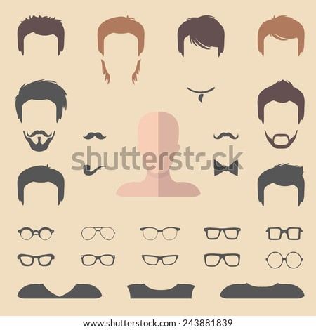 Big vector set of dress up constructor with different men haircuts, glasses, beard, mustache, wear in trendy flat style. Flat man faces icon creator - stock vector