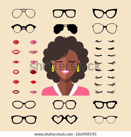 Big vector set of dress up constructor with different woman eyelashes, glasses, lips in trendy flat style. Flat female faces icon creator - stock vector