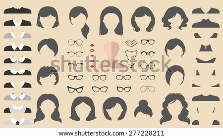 Big vector set of dress up constructor with different woman haircuts, glasses, lips, wear, jewellery in trendy flat style. Flat female faces icon creator.