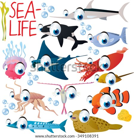 big vector set of funny comic cartoon animals: sea life: orca, sward fish, manta ray, jelly fish, squid, seal, barracuda, isopod, plankton, clown fish, unicorn fish - stock vector