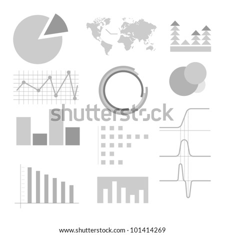 Big vector set of graphs - stock vector