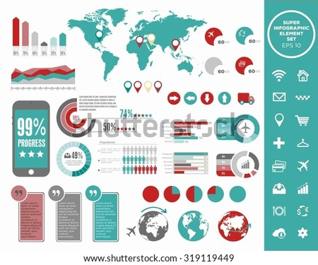 Big Vector set of infographics elements for your documents and reports. Conceptual statistic communication. Logistics flat global transportation concept. Infographic and map point set. Icons set - stock vector