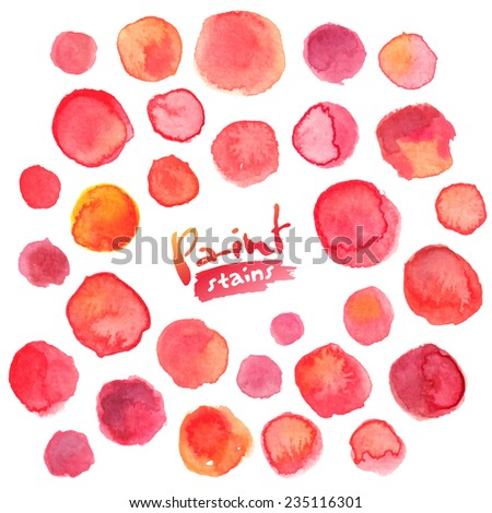 Big vector set of red watercolor stains - stock vector