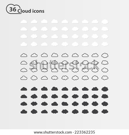 Big vector set of thirty-six cloud shape:white cloud shape,black line cloud shape,black cloud shape. cloud icons, sign for web and app, for cloud computing and so on, isolated on a white background - stock vector