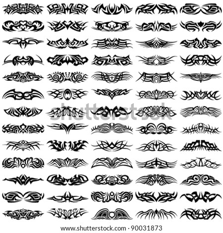 Big, vector set of tribal tattoos - stock vector
