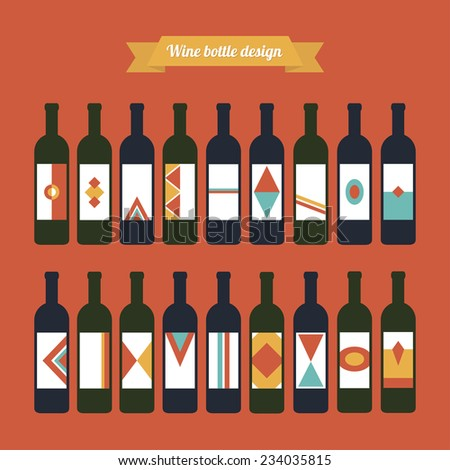 Big vector set of wine bottles with different colorful labels. Green and blue glass on red background.