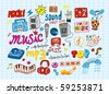 big vector set : Sketchy music illustrations - stock vector