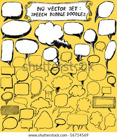 big vector set : Speech Bubble Doodles - stock vector