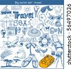 big vector set :  travel doodles - stock vector