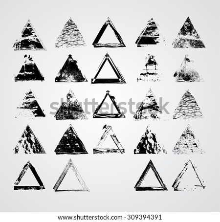 Big Vintage Stamps Collection . Grunge Triangles . Retro Background. Texture Background. Circle Brush Stroke . - stock vector