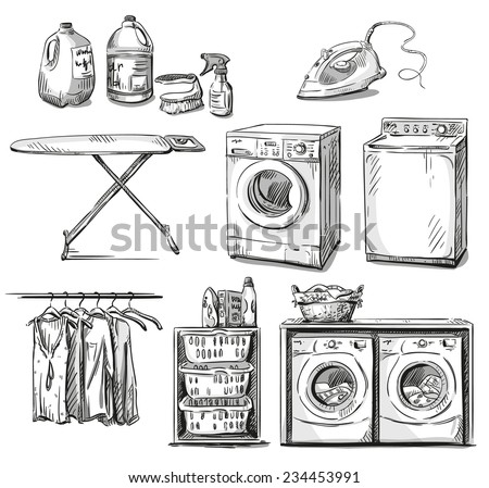 big wash. Laundry objects. Vector sketch. - stock vector