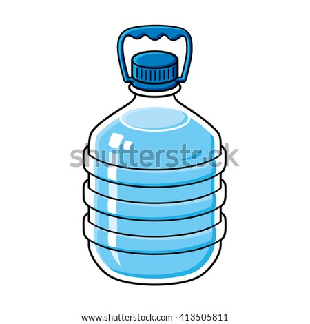 Big water bottle with handle. - stock vector